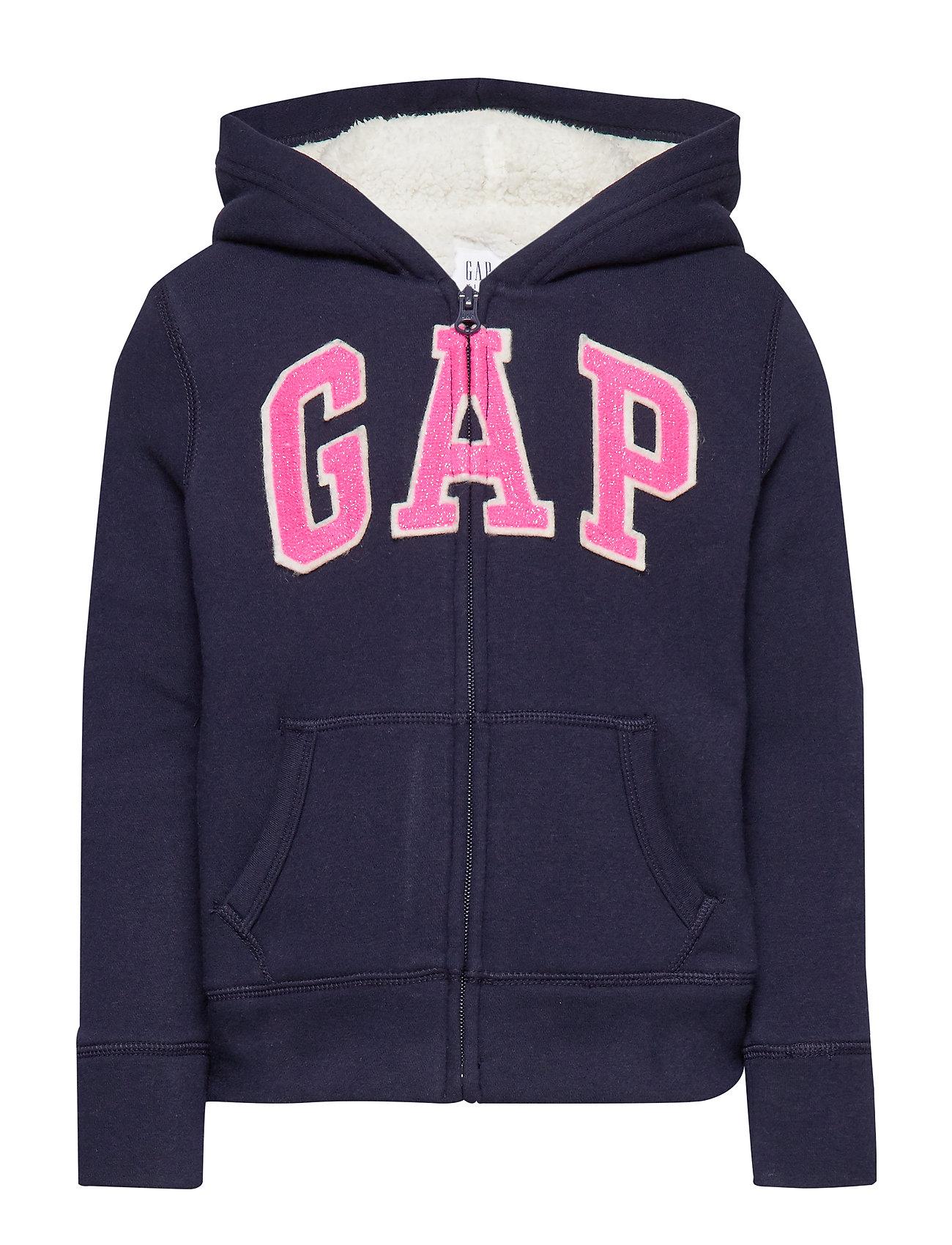 GAP Kids Gap Logo Sherpa Hoodie Sweatshirt - NAVY UNIFORM