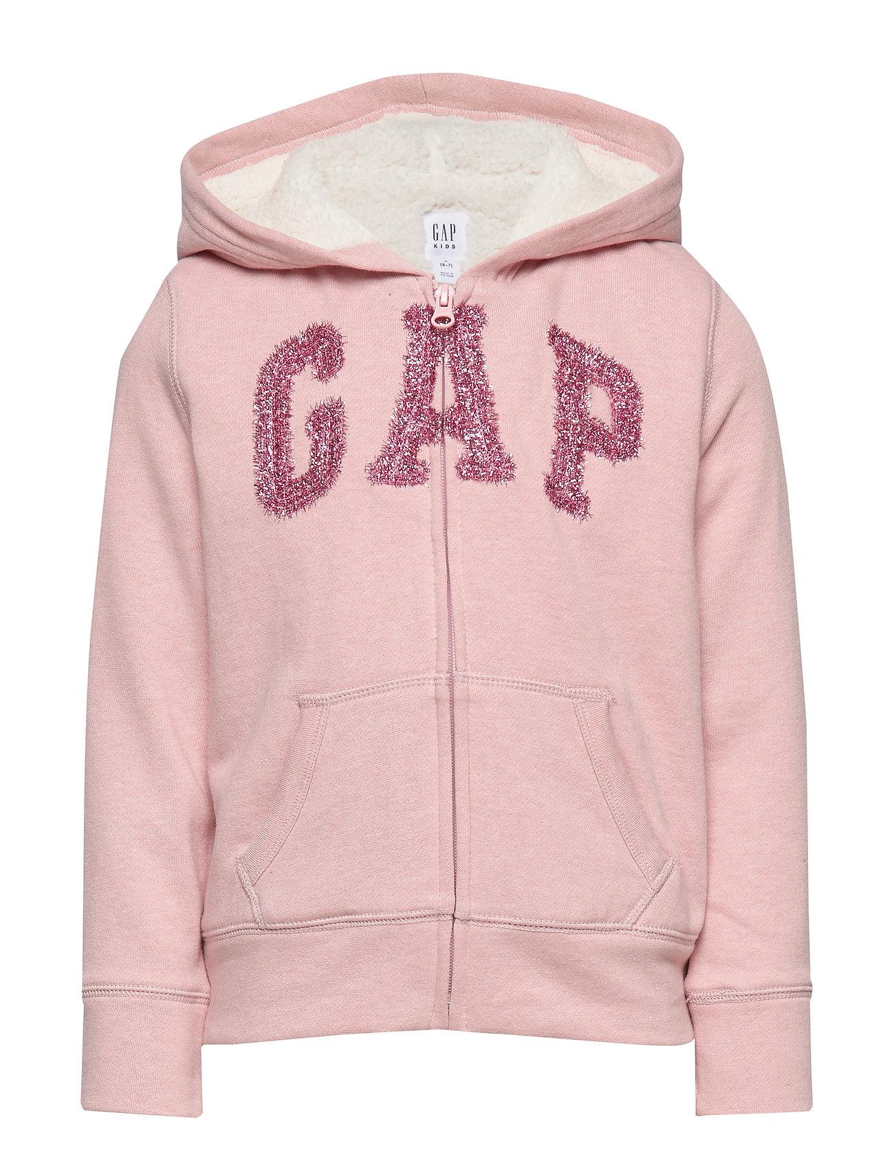 GAP Kids Gap Logo Sherpa Hoodie Sweatshirt - PINK STANDARD