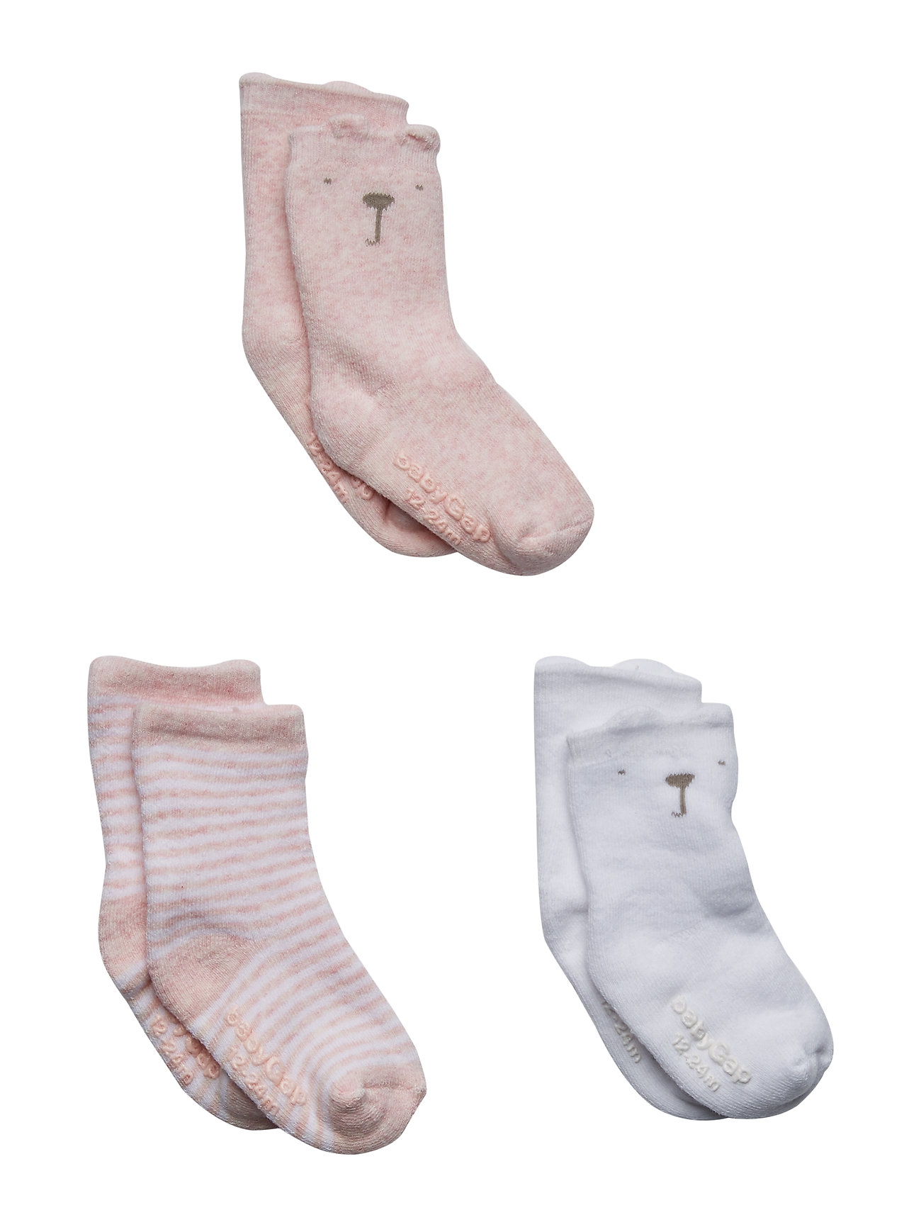 GAP Baby Brannan Bear Crew Socks (3-Pack) - PINK HEATHER B0459