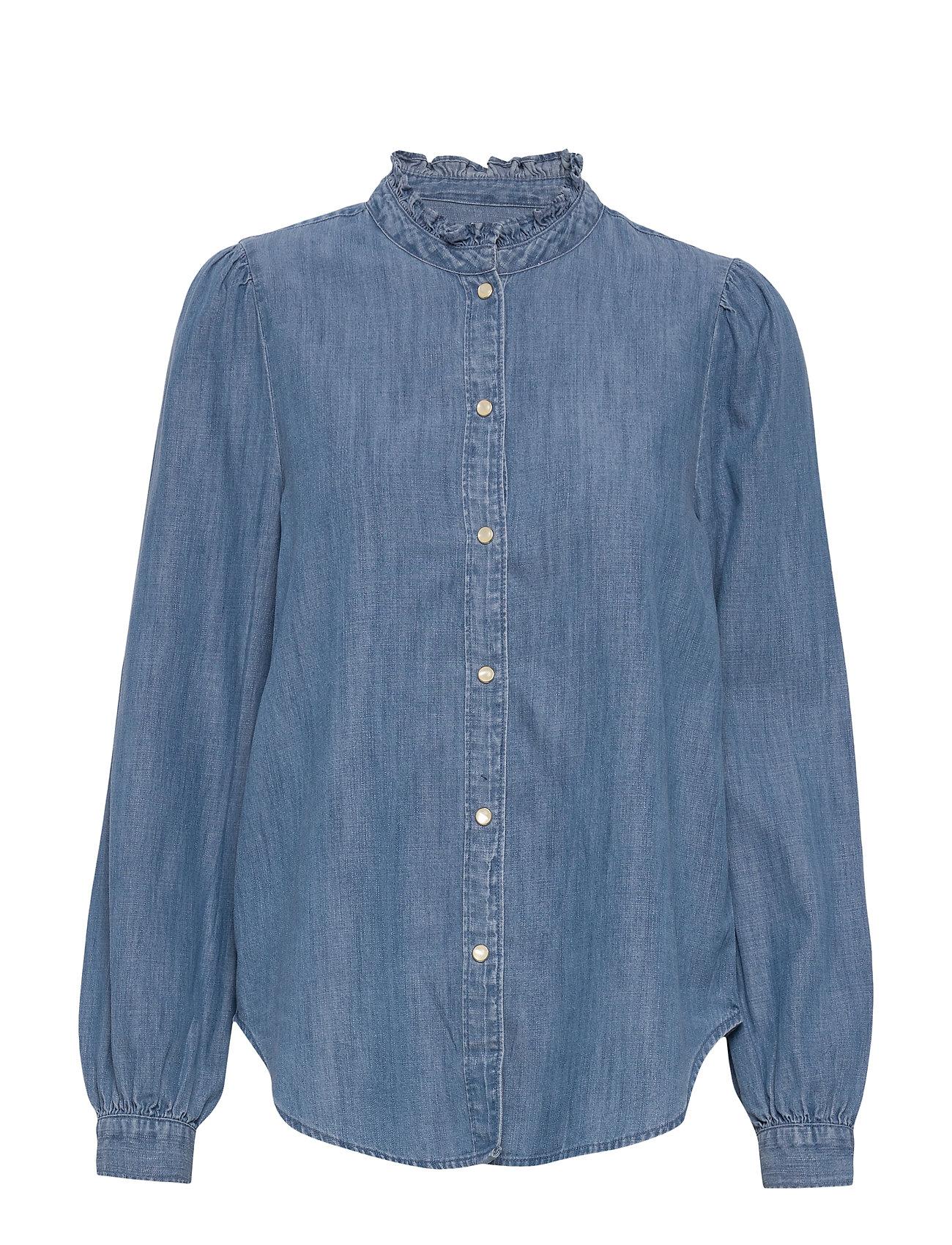 GAP Denim Ruffle-Neck Shirt - LIGHT INDIGO 6
