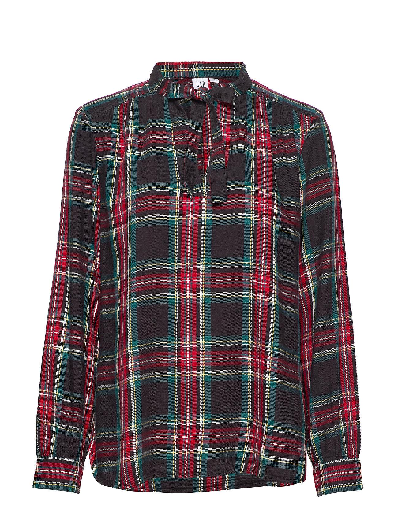 GAP Plaid Tie-Neck Blouse - RED TARTAN PLAID