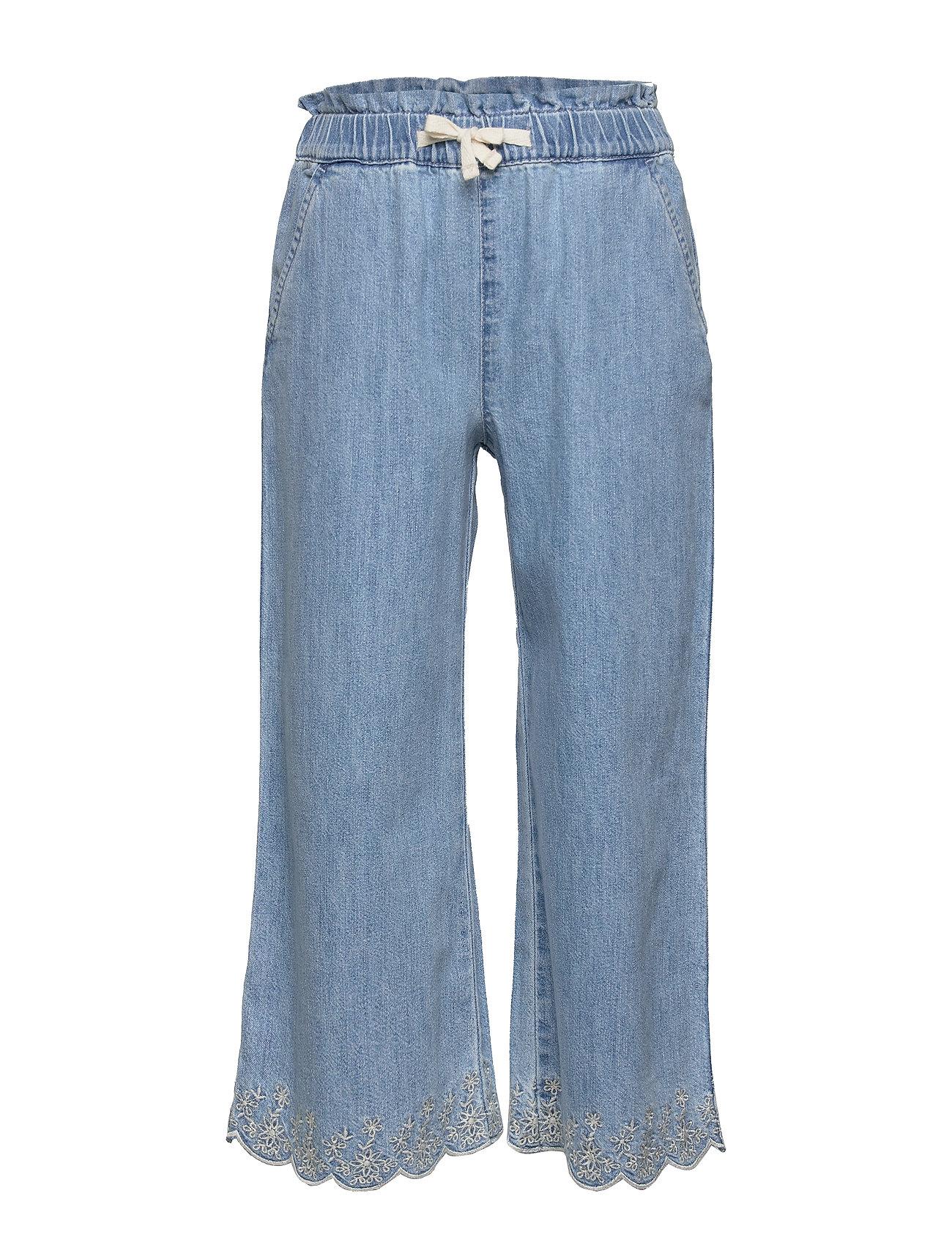 GAP Kids Eyelet Chambray Wide-Leg Crop Pants - INDIGO CHAMBRAY