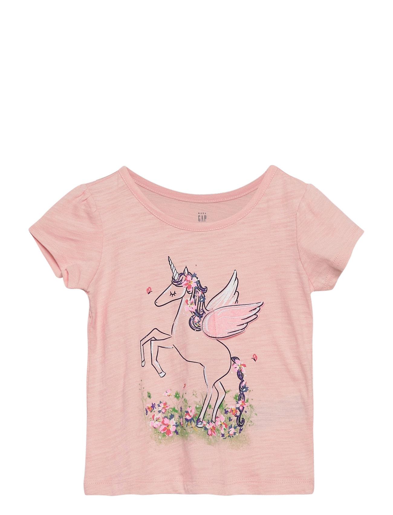 Image of Toddler Puff Sleeve Unicorn Graphic T-Shirt T-shirt Lyserød GAP (3438742475)