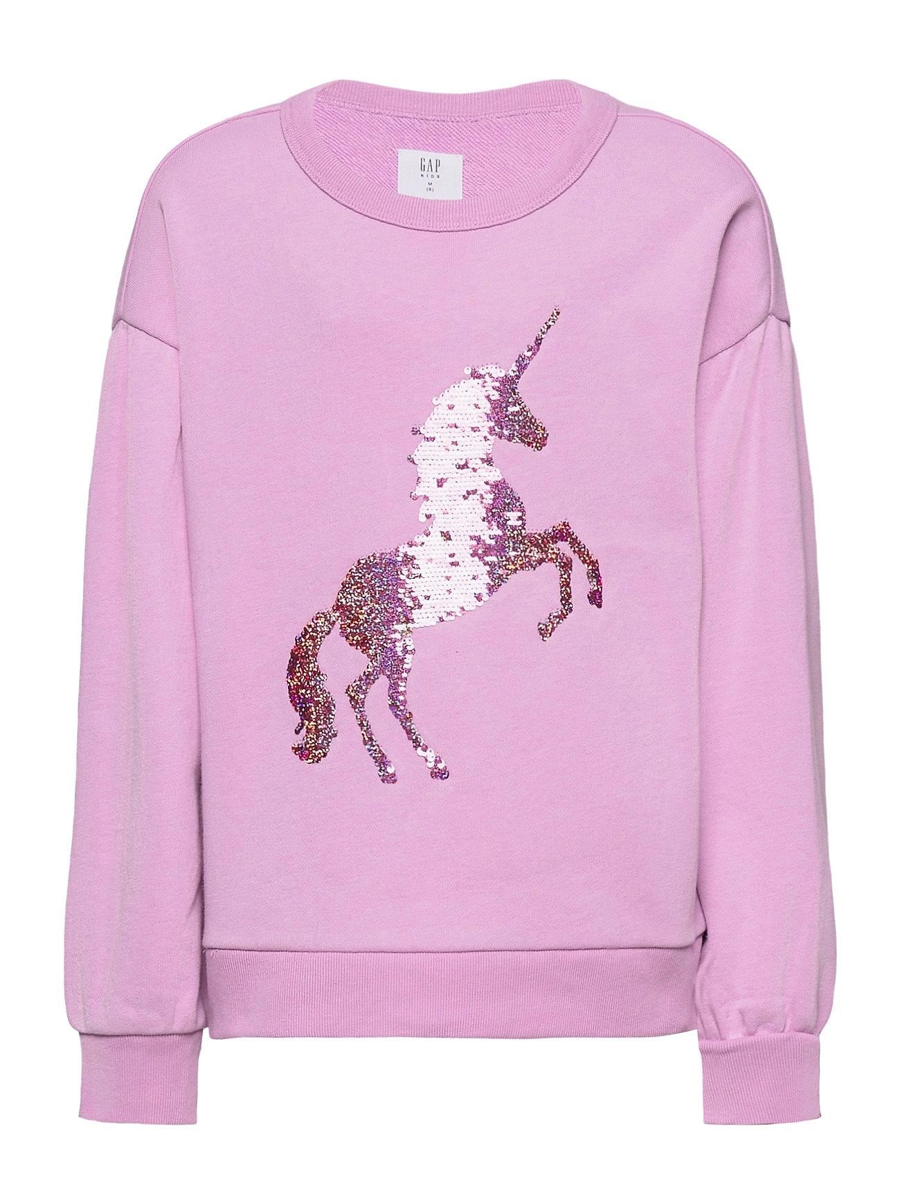 Image of Kids Flippy Sequin Crewneck Sweatshirt Sweatshirt Trøje Lyserød GAP (3464913865)