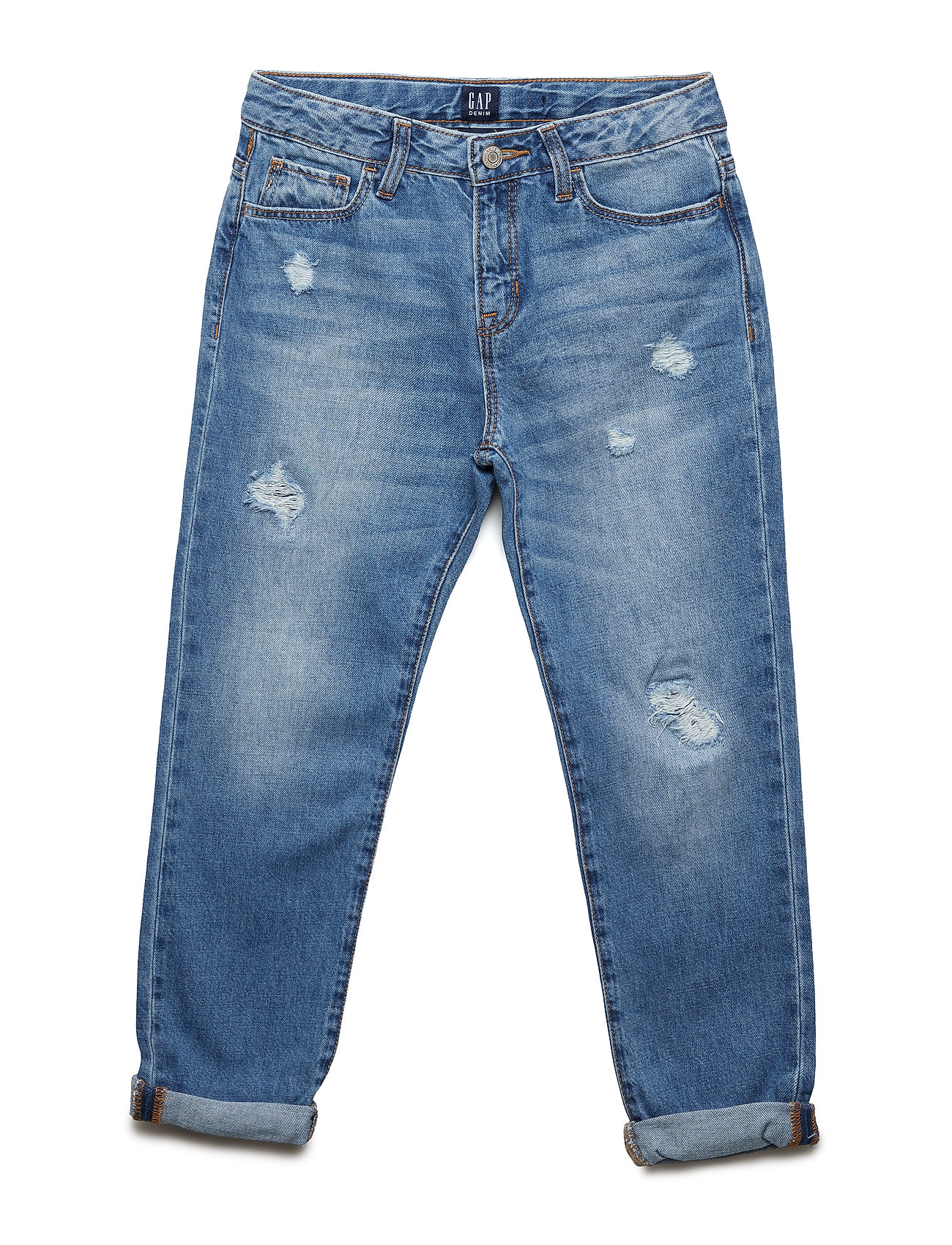 GAP Kids Destructed Girlfriend Jeans - MEDIUM WASH