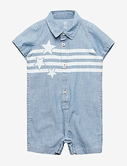 GAP - Baby Star Denim Shorty One-Piece - lyhythihaiset - medium wash - 0