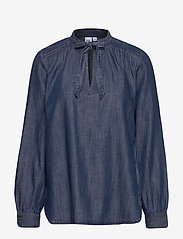 GAP - Tie-Neck Blouse in TENCEL™ - blouses med lange mouwen - dark indigo 4 - 0