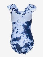 GAP - Kids Tie-Dye Ruffle Swim One-Piece - swimsuits - blue tie dye - 1