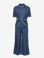 GAP - Utility Tie-Belt Jumpsuit - buksedragter - medium indigo - 0