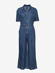 GAP - Utility Tie-Belt Jumpsuit - buksedragter - medium indigo - 2