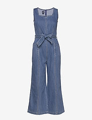GAP - Squareneck Wide-Leg Denim Jumpsuit - combinaisons - medium wash - 0
