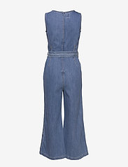 GAP - Squareneck Wide-Leg Denim Jumpsuit - combinaisons - medium wash - 1