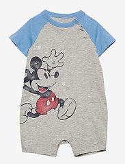 GAP - babyGap | Disney Mickey Mouse Shorty One-Piece - kurzärmelig - light heather grey b08 - 0