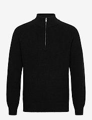 Mockneck Shaker Sweater - TRUE BLACK V2