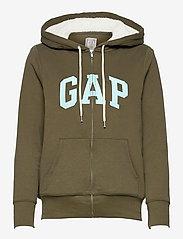 GAP - Gap Logo Sherpa Hoodie - hættetrøjer - black moss - 0