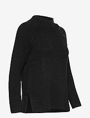 GAP - Asymmetrical Button Mockneck Raglan Sweater - jumpers - true black - 3