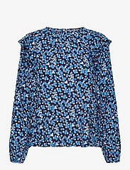 GAP - Ruffle Shoulder Top - long sleeved blouses - blue floral - 0