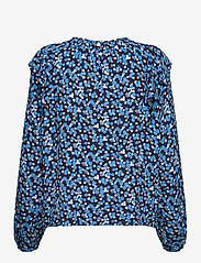GAP - Ruffle Shoulder Top - long sleeved blouses - blue floral - 1
