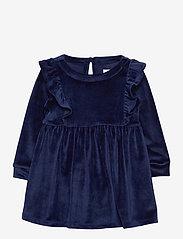 Toddler Velour Ruffle Skater Dress - NAVY UNIFORM V2
