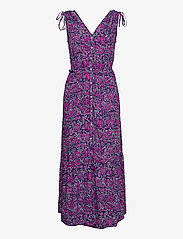 Ruched Shoulder Maxi Dress - PURPLE FLORAL