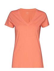 Vintage Wash V-Neck T-Shirt - NEON BLAZING PINK