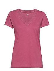 Vintage Wash V-Neck T-Shirt - PAINTED ROSE