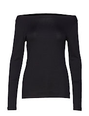 Modern Long Sleeve Boatneck T-Shirt - TRUE BLACK