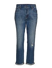 Mid Rise Girlfriend Jeans - MEDIUM INDIGO 8