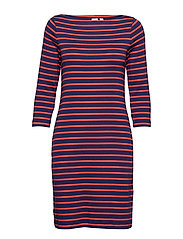 Modern Boatneck Dress - PINK STRIPE