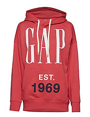 Vintage Soft Oversized Logo Pullover Hoodie - RED PEACH