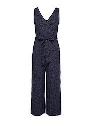 Sleeveless Ribbed Knit V-Neck Jumpsuit - NAVY UNIFORM
