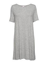 Softspun Short Sleeve Swing Dress - LIGHT GREY MARLE