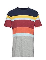 Vintage Slub Jersey Stripe Crewneck T-Shirt - NAVY MULTI STRIPE V1