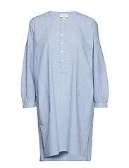 Dreamwell Stripe Bib-Front Shirtdress - BLUE/WHITE STRIPE