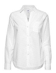 Fitted Boyfriend Shirt - WHITE STAR PRINT