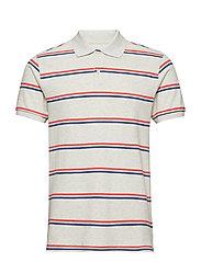 All Day Pique Polo Shirt - GREY STRIPE