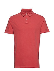 SUEDED JRSY POLO - RED PEACH