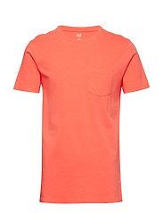 Vintage Wash Pocket T-Shirt - HOT CORAL