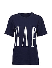 Oversized Logo Graphic Short Sleeve Crewneck T-Shirt - NAVY UNIFORM