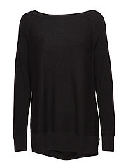 True Soft Mix-Stitch Boatneck Pullover Sweater - TRUE BLACK V2