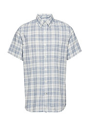 Lived-In Stretch Poplin Short Sleeve Shirt - BLUE PLAID