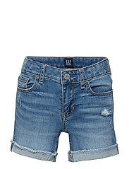 Kids Distressed Midi Shorts with Fantastiflex - MEDIUM WASH