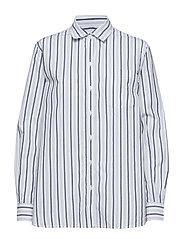 Stripe Boyfriend Shirt in Poplin - NAVY STRIPE