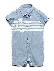 Baby Star Denim Shorty One-Piece - MEDIUM WASH