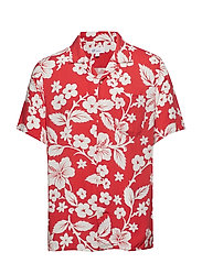 SS RAYON CAMP COLLAR - RED FLORAL PRINT