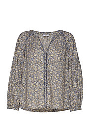 Embroidered Print Peasant Blouse - BLUE FLORAL