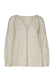 Embroidered Print Peasant Blouse - WHITE DOTS