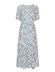 Print Split-Neck Tiered Maxi Dress - BLUE FLORAL