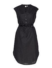 Popover Cap Sleeve Shirtdress in Linen-Cotton - TRUE BLACK V2 2
