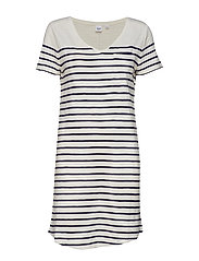 Stripe Relaxed V-Neck Pocket T-Shirt Dress - NAVY STRIPE